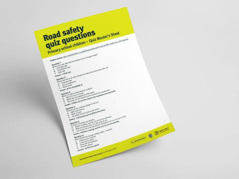 Queensland Road Safety Primary School Quiz - Quiz Master's Sheet