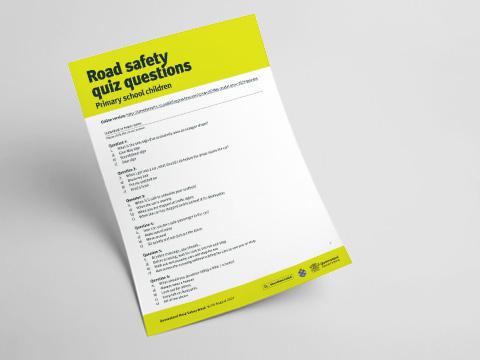 Queensland Road Safety Primary School Quiz - Answer Sheet