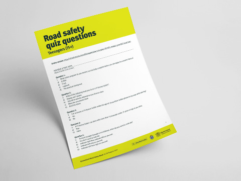 Queensland Road Safety Teenager Quiz - Answer Sheet