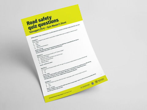 Queensland Road Safety Teenager Quiz - Quiz Master's Sheet